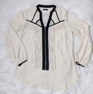 Venus Longsleeve Zipper Studded Cutout Blouse